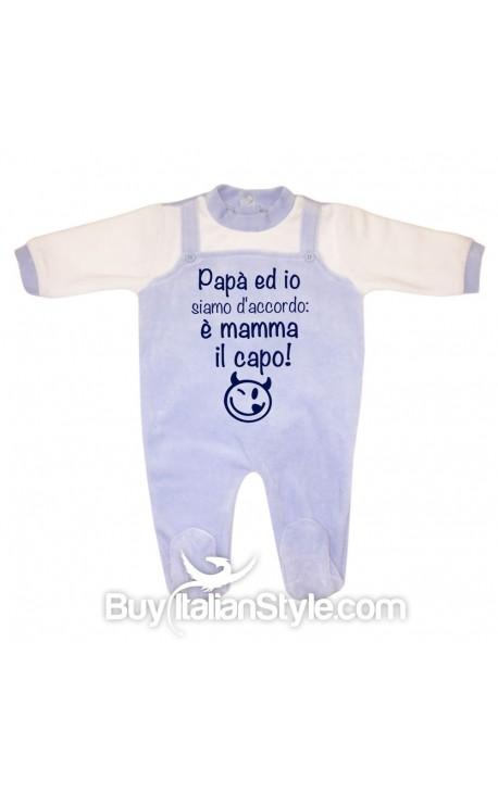 """Tutina neonato in ciniglia """"Papà ed io siamo d'accordo è mamma il capo"""""""