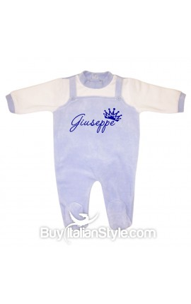 Tutina neonato in ciniglia con coroncina PERSONALIZZABILE con nome