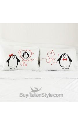 Coppia FEDERE per guanciale pinguini