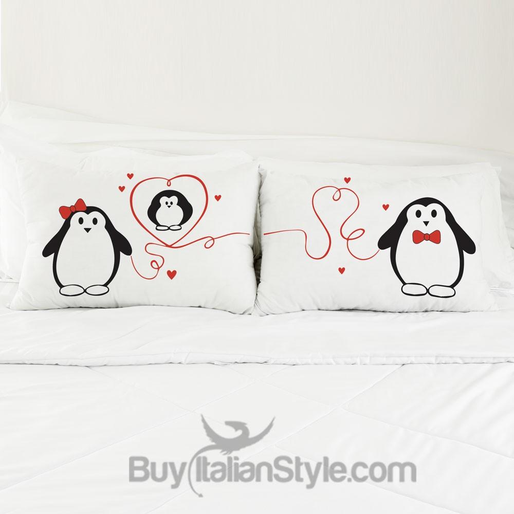 Cuscini Coppia.Federe Con Disegno Pinguini