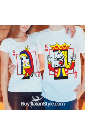 "Couple Shirts Set ""King Queen of Hearts"""
