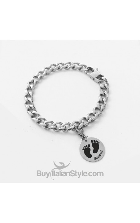 """""""Footprint"""" chain bracelet customizable with the name of your baby"""
