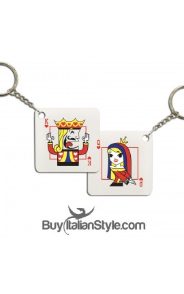 "Personalized Couple Keyring ""King and Queen of Hearts"""