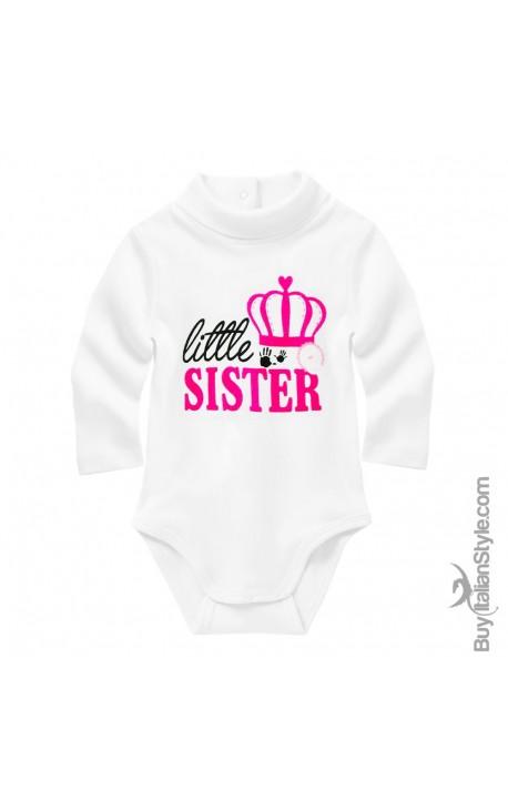 "Knit turtleneck bodysuit ""little sister"""