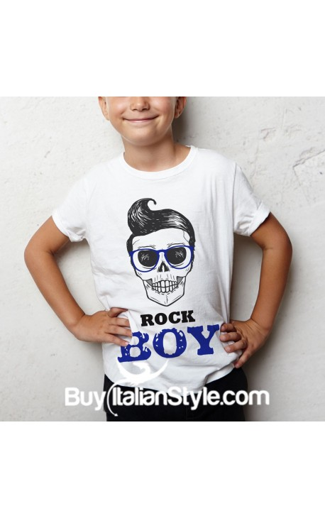 "T-shirt bimbo mezza manica ""ROCK BOY"""