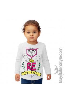 """T-shirt bimba manica lunga """"RE dei baci"""""""