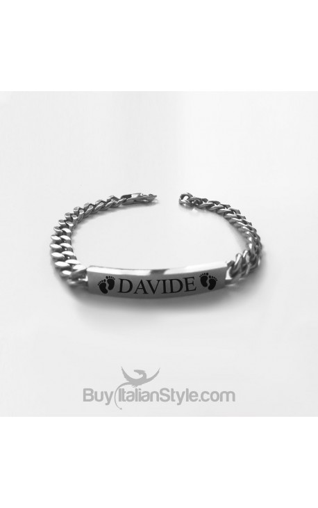 Bracelet with CUSTOMIZABLE FOOTPRINT placket with a name or date
