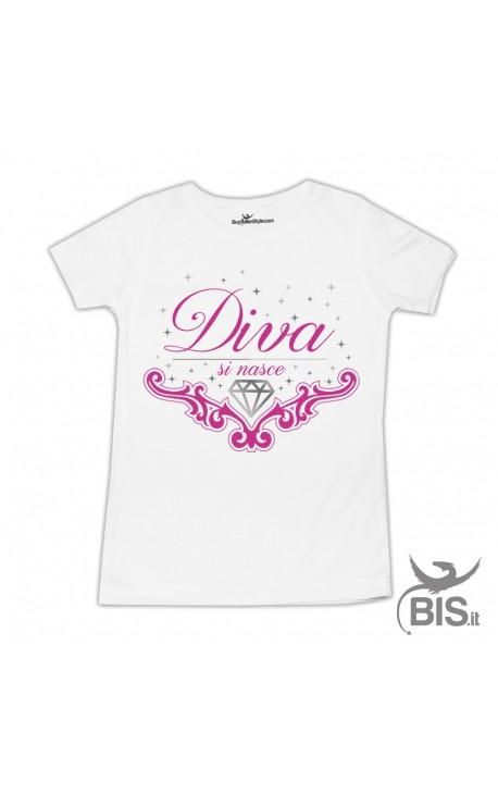"T-shirt bimba ""Diva si nasce"""