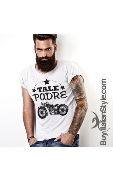 """T-shirt uomo mezza manica """"Tale Padre"""" con stampa motocicletta"""