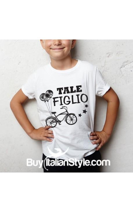 """T-shirt """"TALE FIGLIO"""" con stampa bicicletta"""