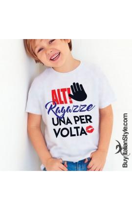 """T-shirt bimbo """"Alt Ragazze una per volta"""""""