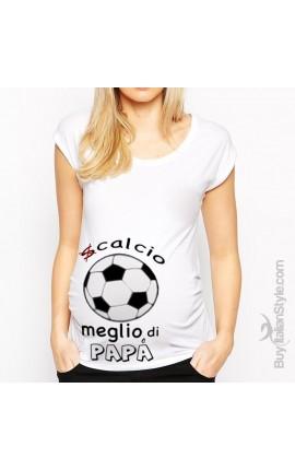 """T-shirt premaman manica corta """"Scalcio meglio di papà"""""""