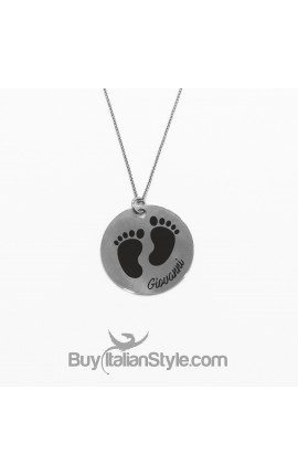 Necklace with small feet pendant customizable with the name of your baby