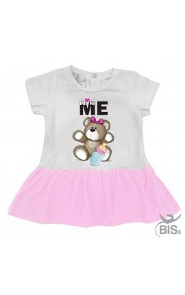 Abitino neonata orsetto con biberon e fiocchetto scritta mini-me
