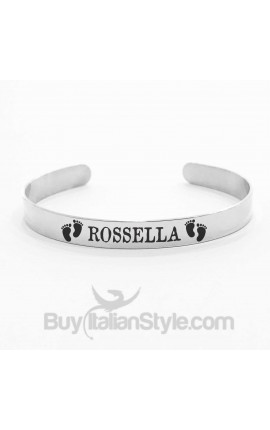 FOOTPRINT Handcuffed bracelet PERSONALIZED with a name or date