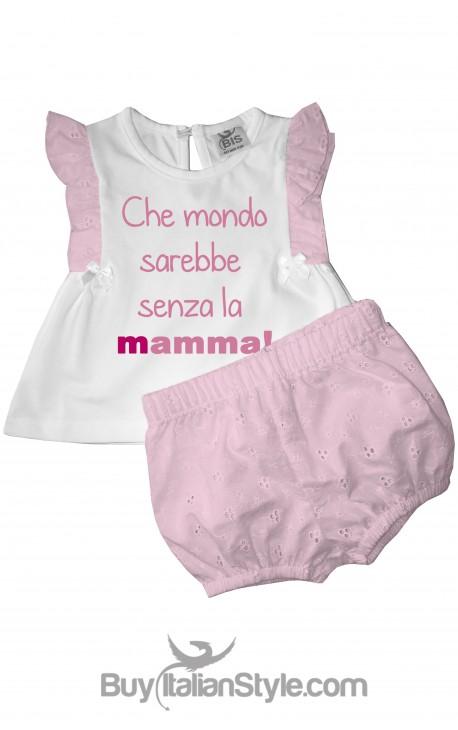 """Completino neonata """"Che mondo sarebbe senza la mamma"""""""