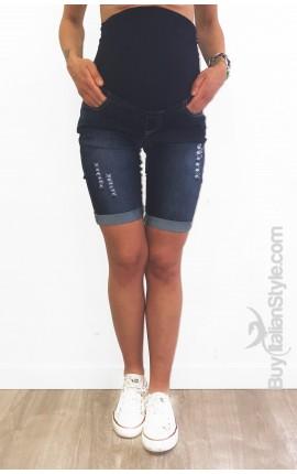 Bermuda Jeans Premaman Stone Wash