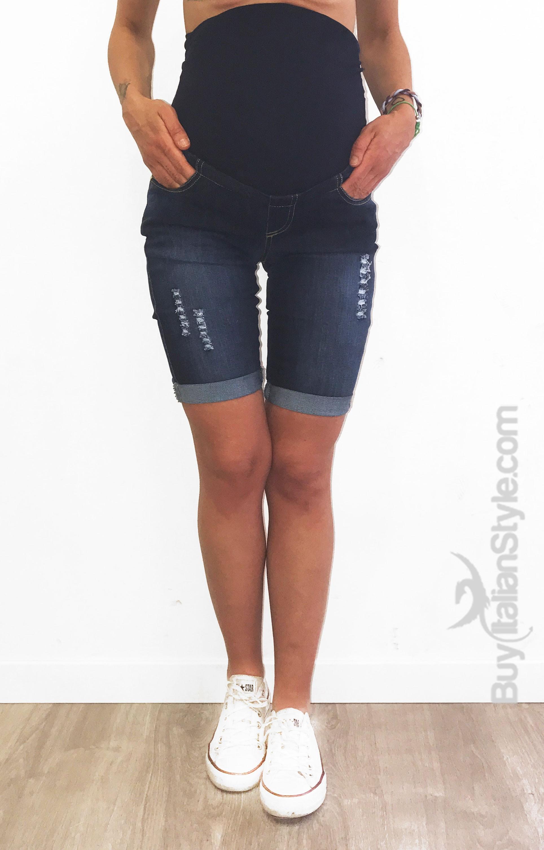 a736b77c931a Bermuda Jeans Premaman Stone Wash. Loading zoom