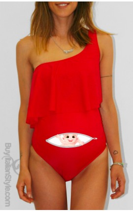 "Ruffle Maternity Swimsuit ""BABY PEEKING OUT"""