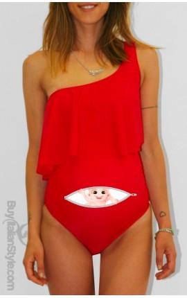 """Costume premaman monospalla """"Bimbo Zip"""""""