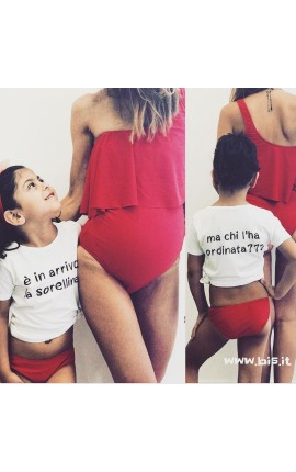 """T-shirt bimbo """"E' in arrivo la sorellina/il fratellino"""""""