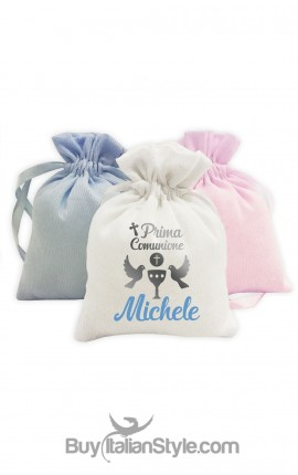 sacchetti per confetti prima comunione personalizzabili