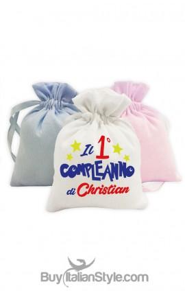 """Kit 5pz sacchetti portaconfetti """"stelle"""" personalizzabile"""