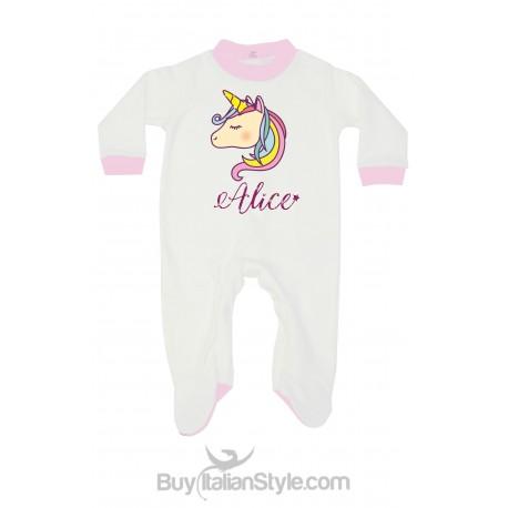 Tutina pigiama unicorno con nome