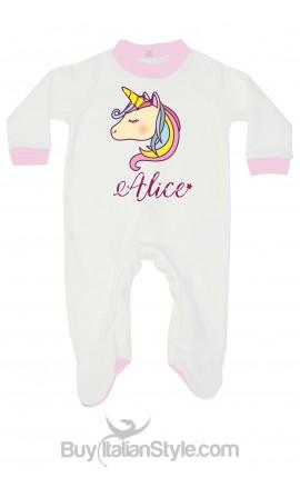 """Tutina neonata """"Unicorno"""" personalizzabile con nome"""