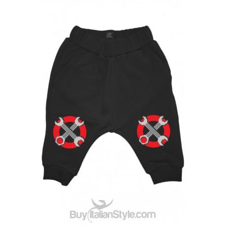 Pantaloni cavallo basso stampa ginocchia giraviti stop