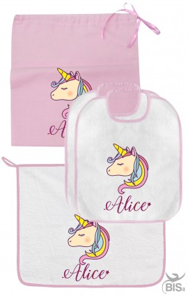 UNICORN Nursery school set PERSONALIZED by name