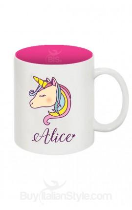 Tazza plastica unicorno con nome