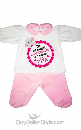 """Chenille baby set """"""""You change my diaper I'll change your life"""""""