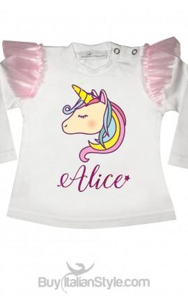 t-shit bimba unicorno personalizzabile con nome