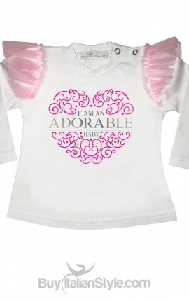 "Maglia con alette in tulle ""I'am an adorable baby"""