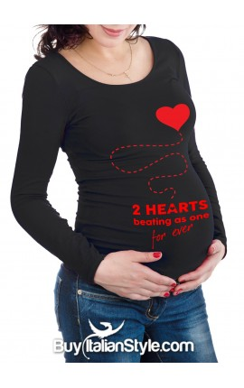 """Maternity long sleeve t-shirt""""two hearts beating as one"""""""