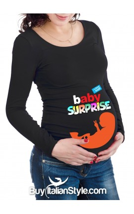 "Maternity long sleeve t-shirt ""baby surprise"""