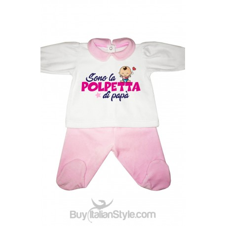 """Chenille baby set"""" DADDY'S LITTLE MEATBALL"""""""