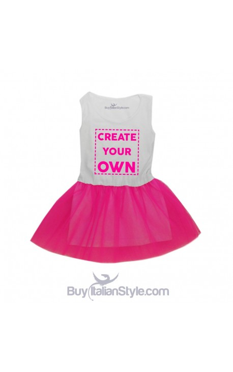 Customizable girl dress with tulle skirt