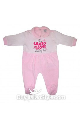 "Chenille Baby Girl all in one ""I'm crazy in love with my dad"""