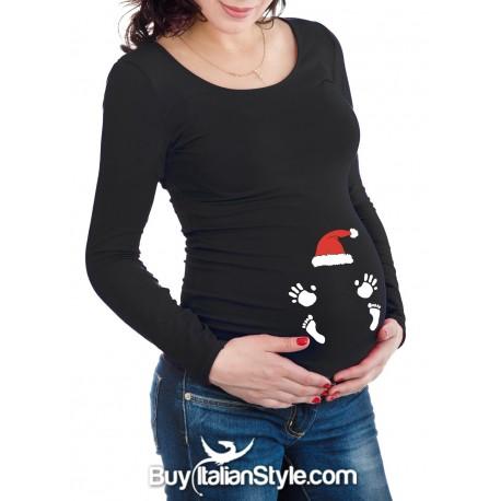 T-shirt premaman impronte neonato e cappello babbo natale