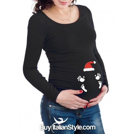 Maternity t-shirt with printed baby hands and feet and santa's hat
