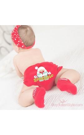 Fascia turbante rossa con stelline natalizie