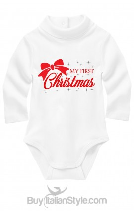 "Turtle neck Bodysuit ""My First Christmas"" with bow"