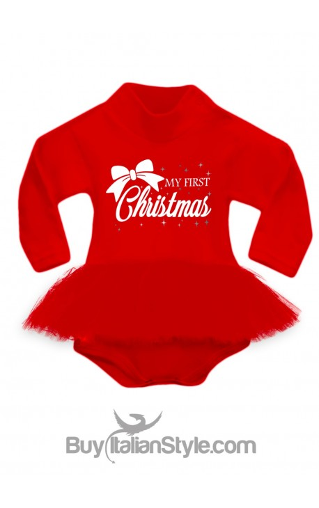 """Bodysuit with red tulle skirt """"my first christmas"""""""