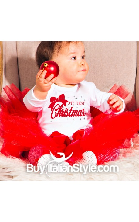 "Baby shirt ""My First Christmas"" with bow"