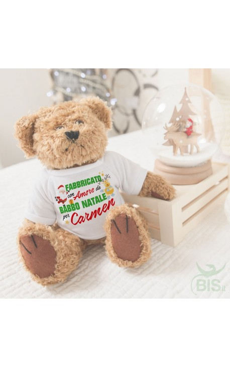 "Customizable teddies with the print ""made with love by Santa for..."""