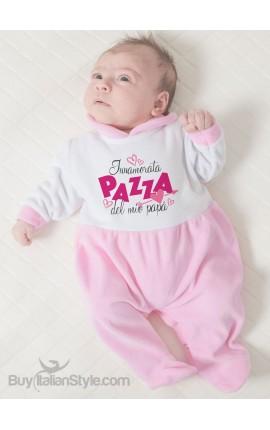 """Tutina neonato in ciniglia """"Innamorata pazza del mio papà"""""""