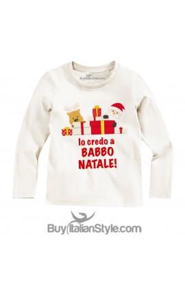 "T-shirt manica lunga ""Io credo a Babbo Natale"""