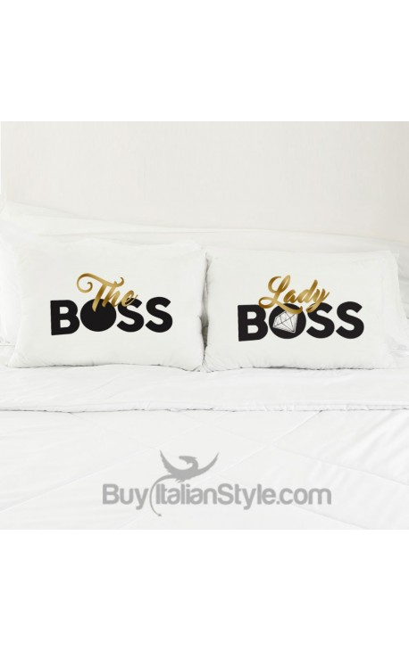 """Coppia FEDERE per guanciale """"The boss & Lady boss"""""""